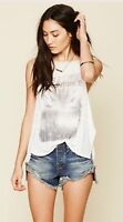 We The Free People Concert Graphic Tank Top Shirt Blouse Hi Low Ivory M