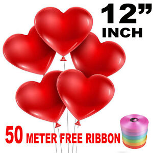 50-Latex-Love-Heart-Shape-Balloons-Red-Colour-Birthday-Wedding-Mother-Day