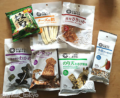Japanese Sea Food Snack 7 Bags Set, Squid, Almond & Fish, Wasabi Nori, Edamame