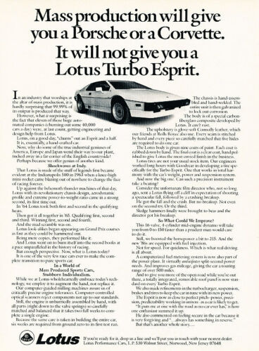 1986 Lotus Turbo Esprit Mass Classic Vintage Advertisement Ad D77