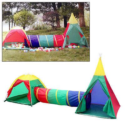 KIDS 3-IN-1 ADVENTURE TUNNEL PLAY TENT OUTDOOR INDOOR CHILDRENS GARDEN PLAYHOUSE