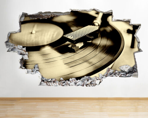 R296 Music Record Turn Table Song Smashed Wall Decal 3D Art Stickers Vinyl Room