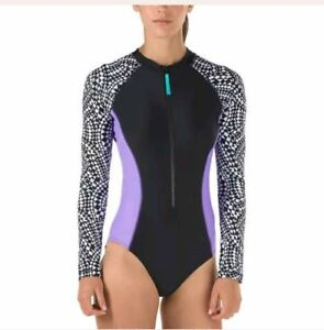 NWT-Speedo-Ladies-Long-Sleeve-One-Piece-Swimsuit-Select-Size-FREE-SHIPPING