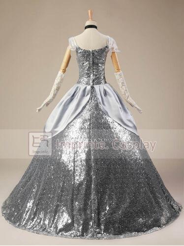 Adult Princess Cinderella Silver Dress Cosplay Costume FREE P/&P