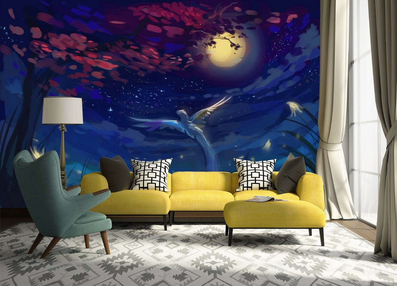 3D moon Woods painted Wall Paper Print Decal Wall Deco Indoor wall Mural