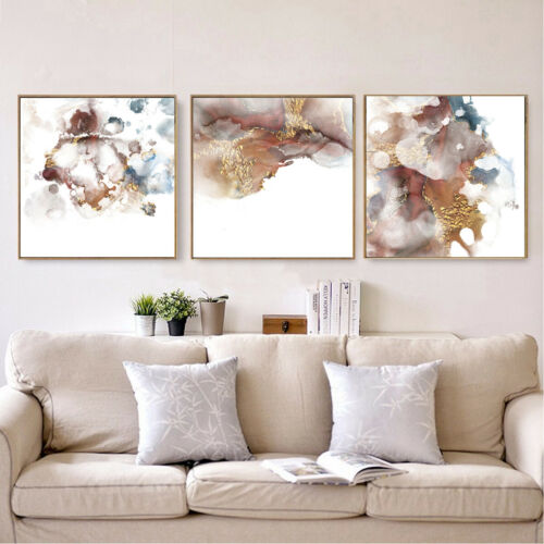 Abstract Gold Artistic Ink Wave Painting Pictures Canvas Print Hallway Art Decor