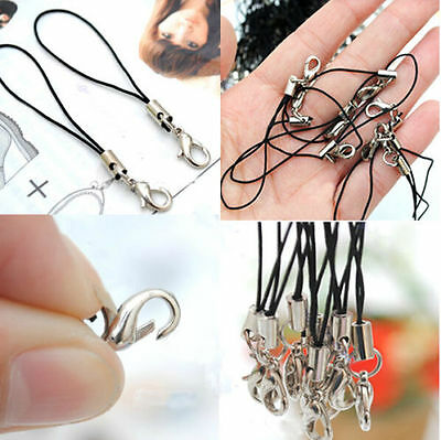 100x Cord Strap with Lobster Clasp DIY for Mobile Phone Charm Assorted Black