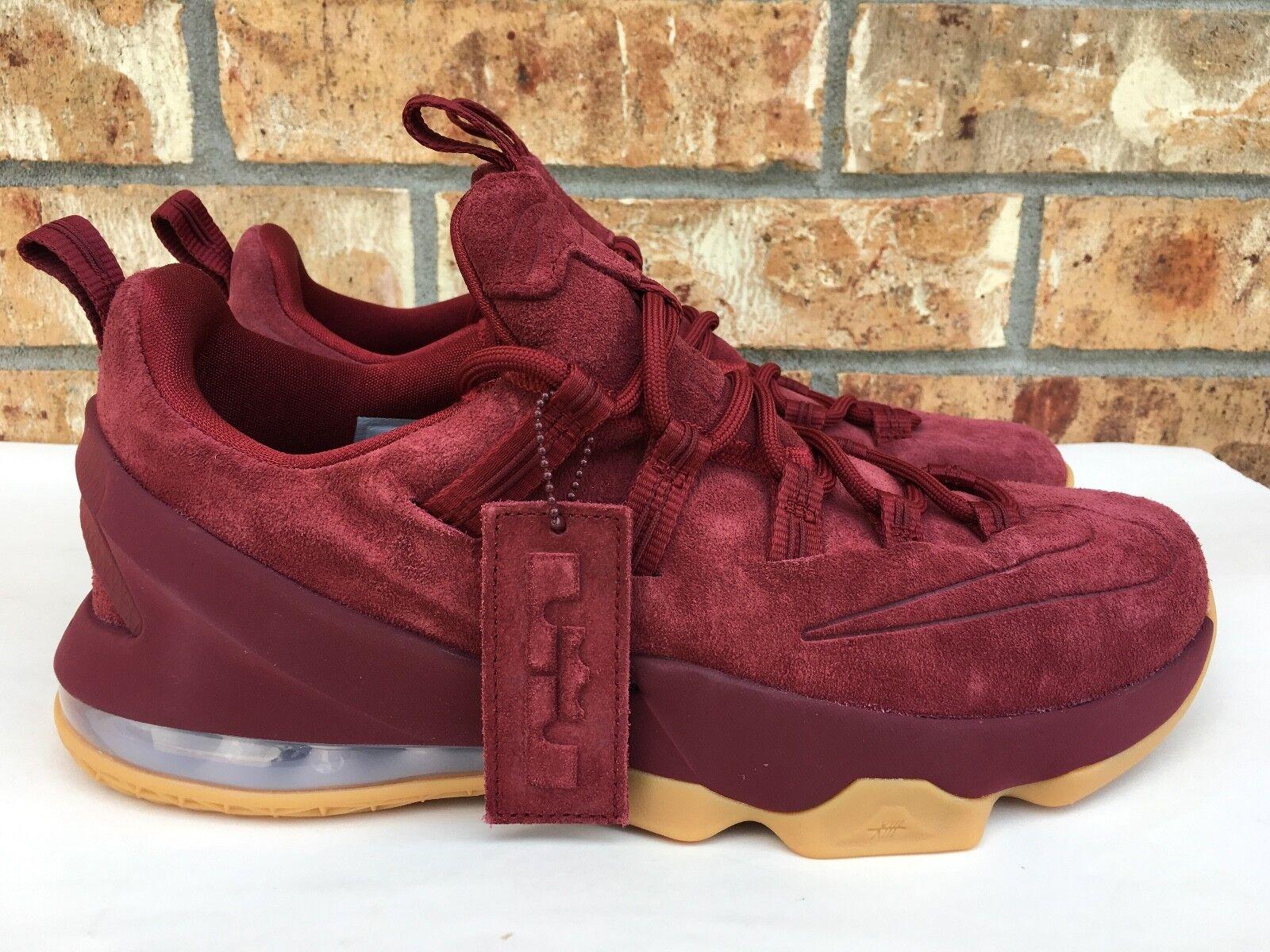 Men's Nike Lebron 13 Low PRM Team Red Suede Premium Basketball Shoes AH8289 600