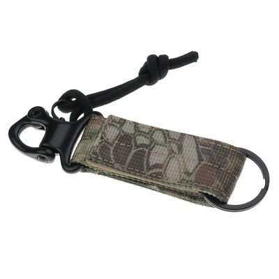 Nylon Tactical Webbing Buckle Military Keychain Buckle Strap Clip Black Camo