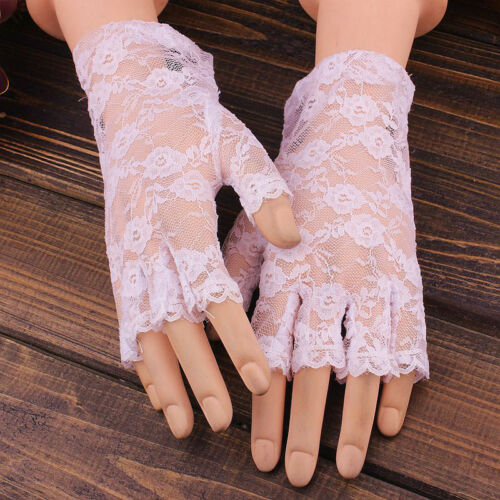 Elegant Halloween Short Lace Fingerless Women Gloves Net Goth Gothic Fancy Glove