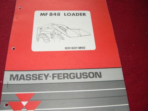 Massey Ferguson 848 Loader Original Dealer/'s Parts Book