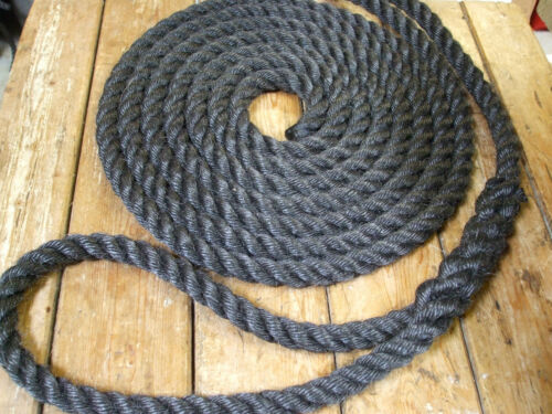"""1 x 10mtr x 24mm BLACK STAPLE SPUN BARGE MOORING LINES WITH 18/"""" EYE AND WHIPPING"""