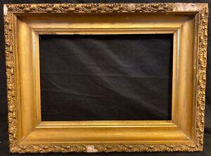 Antique Victorian Gilded Wood Deep Well Frame Gesso Lemon? Gold Leaf Frame