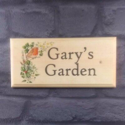 Garden Grandad Nanny Birds Shed Sign Large Personalised Robin Bush Plaque