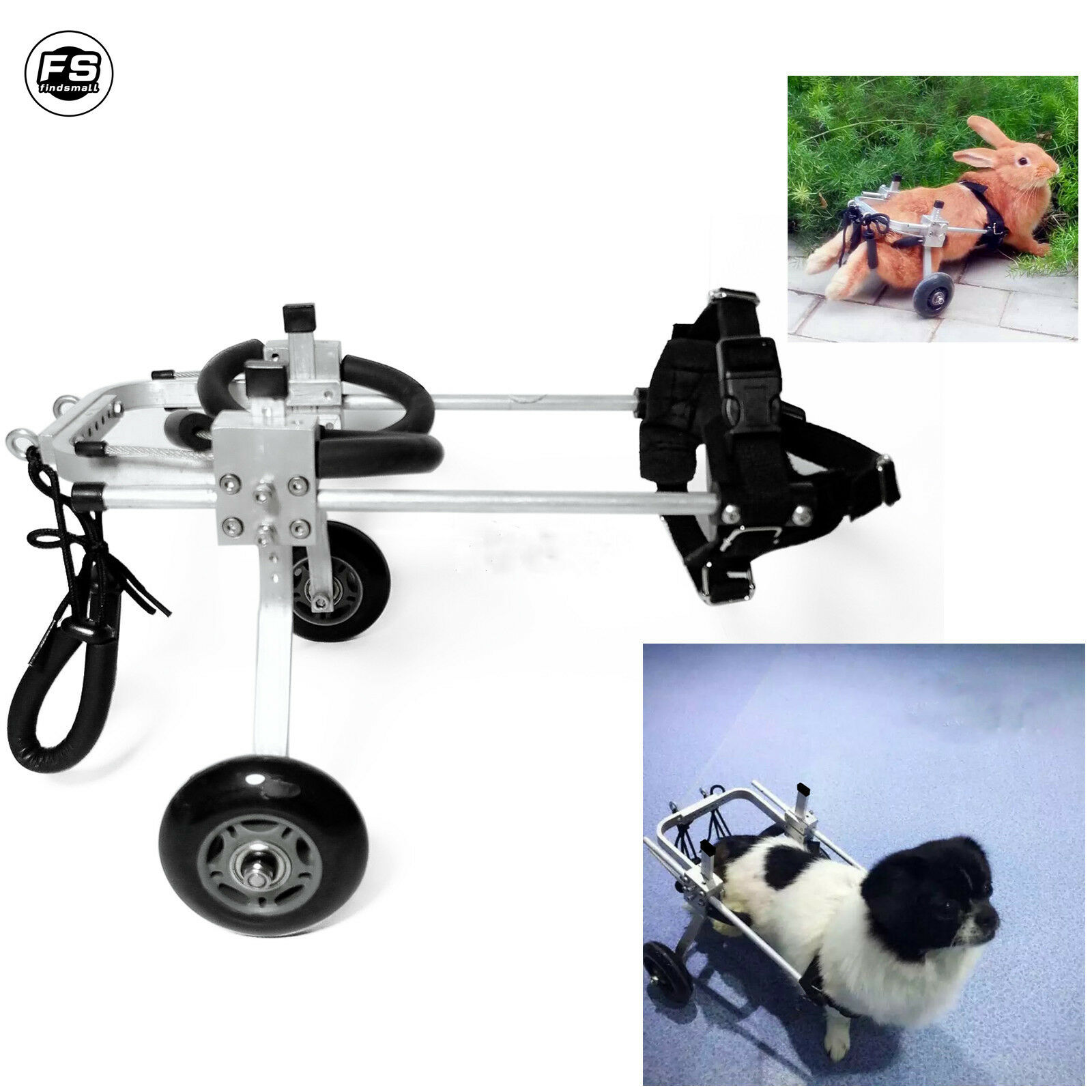 Stainless Cart Pet Dog Wheelchair For Handicapped Small Dog Cat Doggie  Puppy