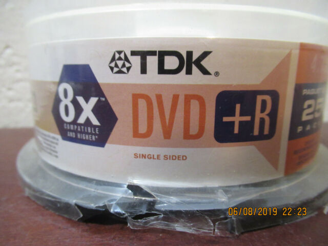 TDK Electronics DVD-R 4.7GB 8X 120 Minute Recording Video 25 Pack Single Sided
