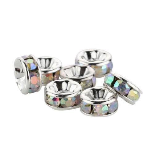 Hot Charms 100Pcs Washer plaqué argent métal avec cristal Spacer Bead 6 mm Cadeau