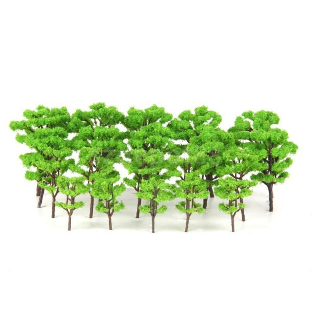 20pcs Plastic Model Kits Light Green Model Trees HO N Z Scale Train Layouts