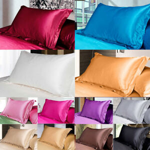 Queen-Standard-Imitation-Silk-Satin-Pillow-Case-MultiColor-Bedding-Pillowcase