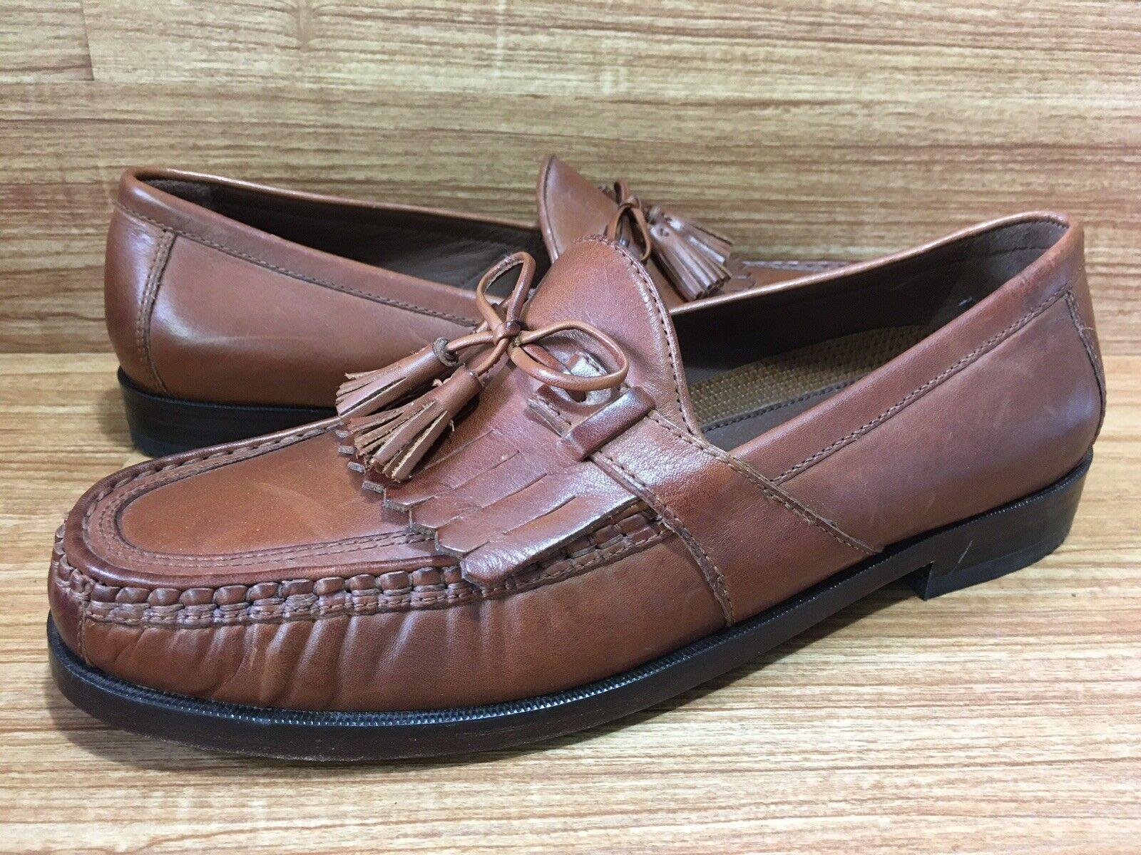 Johnston Murphy Sz 9 M Leather Brown Saddle Kiltie Tassel Slip On Loafer NEW