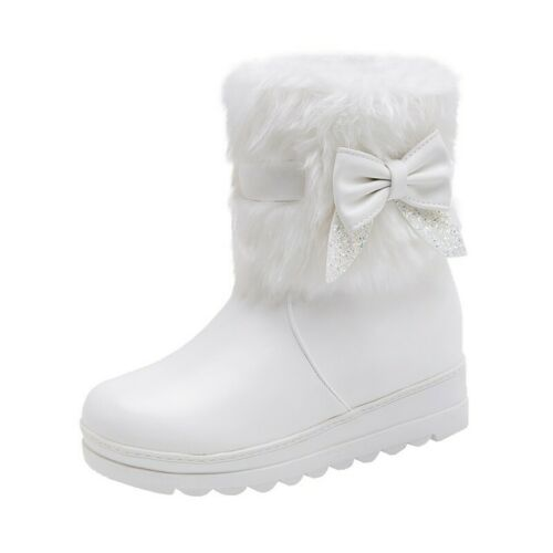 Details about  /Girls Ladies Flats Bowknot Fur Trim Ankle Boots Casual Winter Snow Shoes 30-42