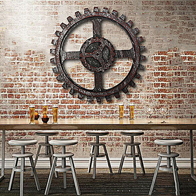 Wooden Gear Wall Art Industrial Antique Vintage Chic Modern Pub Bar Decor D:24CM