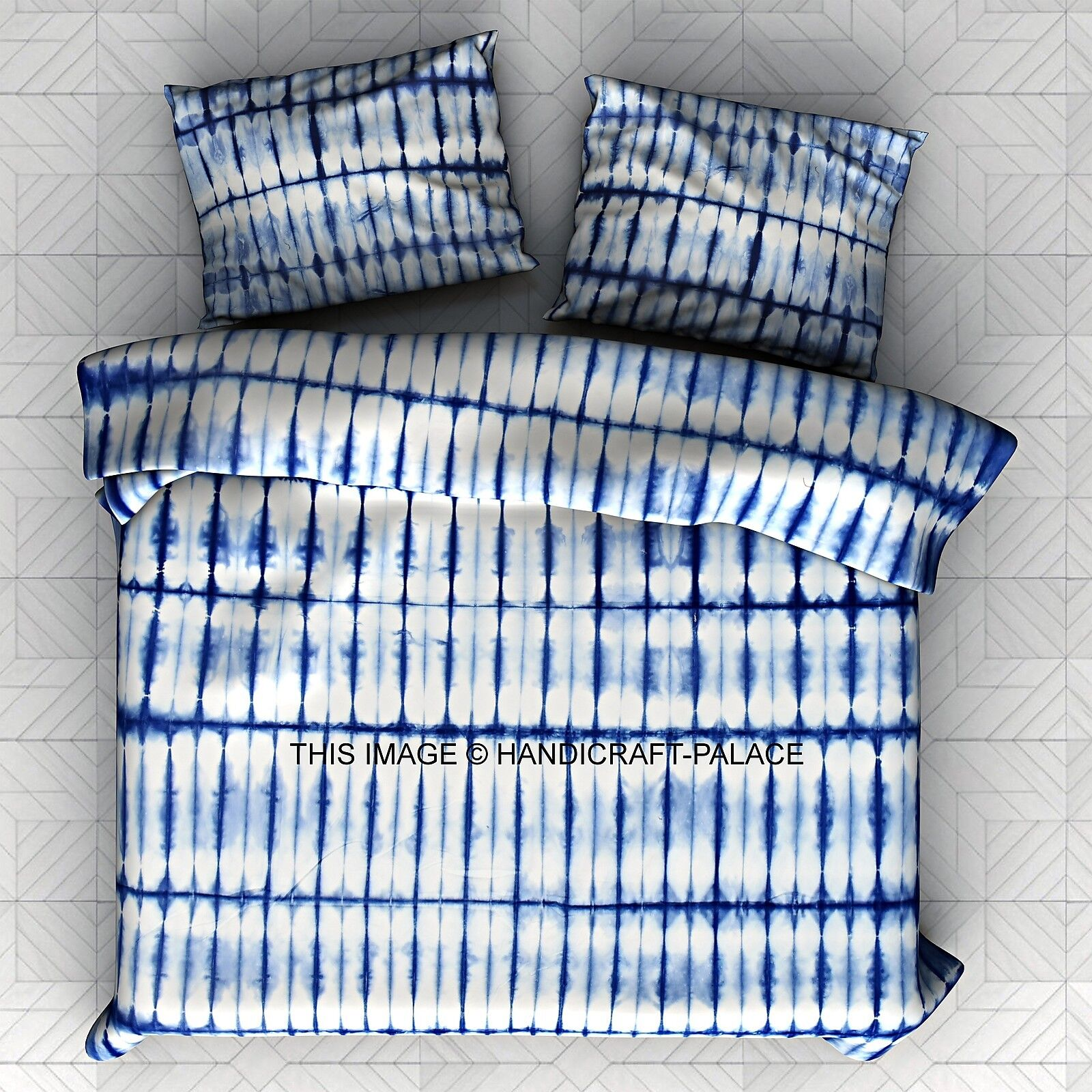 Indian Hand Tie Dye Shibori Duvet Doona Cover Ethnic Quilt Cover with Pillow Set