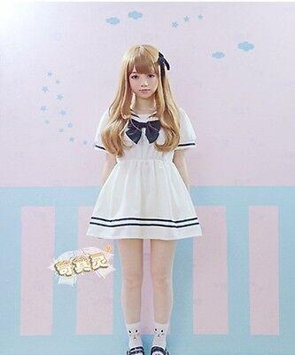 Kawaii Girl Sailor Collar Dress Cute Bow Mini Skirt Navy Short Sleeve White/Blue