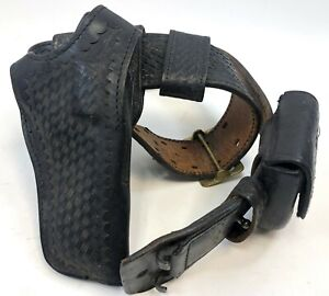 VTG-Basketweave-Leather-Gould-Goodrich-Safariland-Cuff-Duty-Belt-Holster-B501