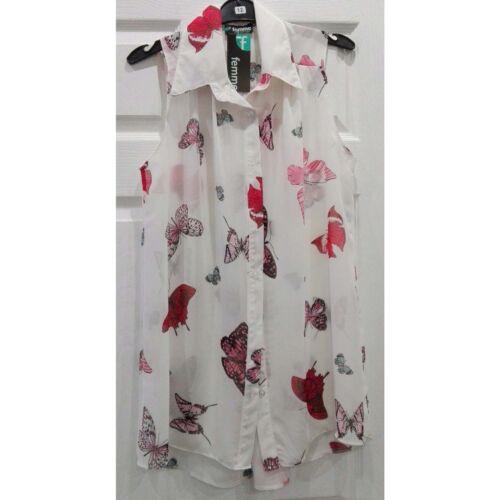 Women Ladies Chiffon Butterfly Print Sleeveless Blouse Top Shirt Size 12-28
