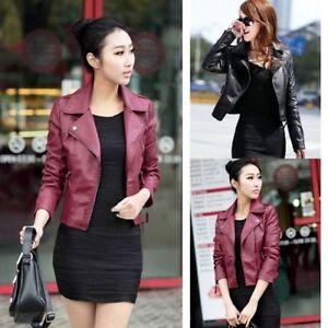 Slim-Fit-Women-New-Black-Biker-Motorcycle-Synthetic-Leather-Zipper-Jacket-Coat
