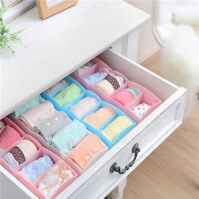 5 Cells Plastic Organizer Storage Box for Tie Bra Socks Drawer Cosmetic Divider