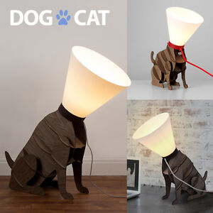Brown Wooden Novelty Dog Cat Table Or Floor Lamp