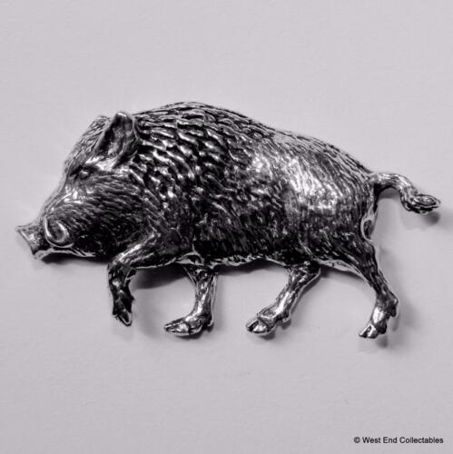 Charging Boar Pewter Pin Brooch British Artisan Made-Pig Hunting Wild Boar  A71