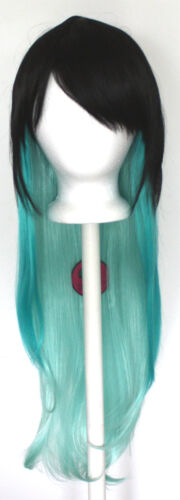 28/'/' Long Straight Layered Fade Black to Green Cosplay Ombre Wig