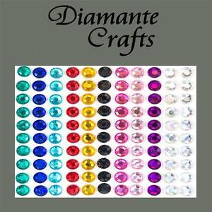 110-x-6mm-Mixed-Colours-Diamante-Self-Adhesive-Rhinestone-Body-Vajazzle-Gems