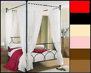 Details about TAB TOP 4 POSTER BED SET- 8 PLAIN VOILE PANELS