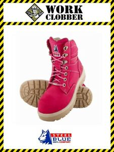 07d098bd2d3 Details about Steel Blue Southern Cross Ladies Pink Leather Lace Up Safety  Shoe 522760 NEW!