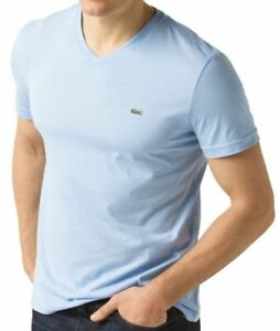 Lacoste-Men-039-s-Athletic-Cotton-V-Neck-T-Shirt-Mineral-Snowcone-Blue