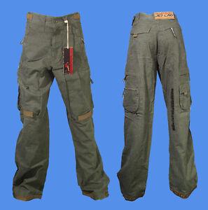 Jet-Lag-Stoff-Hose-S-32-Baumwolle-oliv-khaki-Cargo-NEU-AMIT-A-Baggystyle-milit