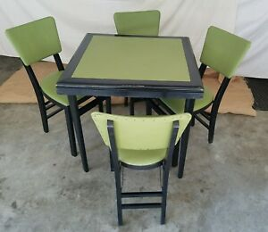 Details About Vintage Stakmore Folding Table 4 Chairs Mid Century Modern Lime Green Black