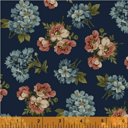 Windham Kensington FLANNEL Navy Blue Pink Peach Small Floral Rose Quilt Fabric