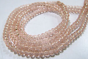 10-STRINGS-Pink-Quartz-Rondelle-Faceted-Beads-Size-3-4mm-150-Beads-per-string