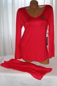 Red-Pajama-Set-Stretch-Harve-Benard-M-L-Long-Sleeves-Long-Pants