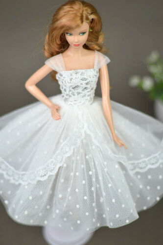 """Pure White Doll Dresses Clothes for 11.5/"""" Doll Elegant Lady Evening Dress Toy"""