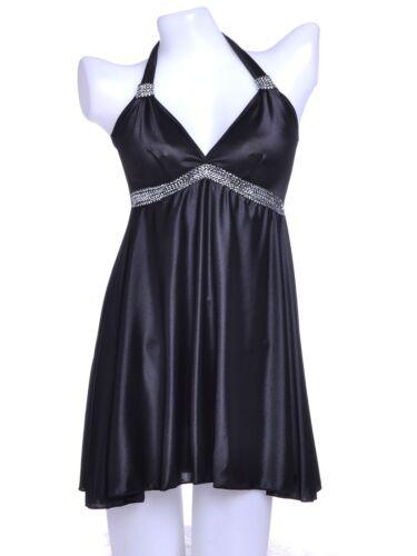 Ali-Market S//M Fit Black Modern Girl Iridescent Metallic Zig Zag Trim Negligee