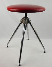 Mid Century Modern Red Naugahyde Chrome Rotating Stool Atomic Sputnik Era