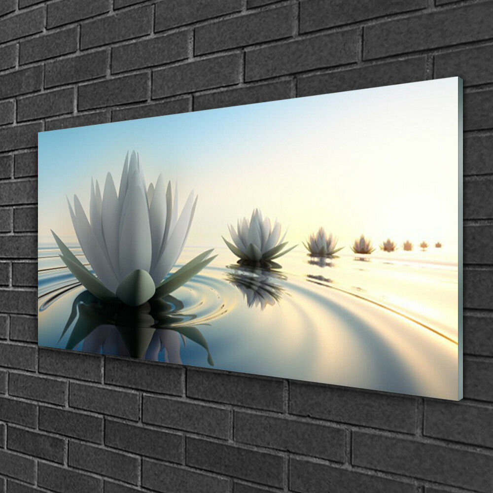 Acrylic print Wall art 100x50 Image Picture Flowers Water Art