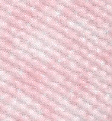 Fabric Flair Fairy Dust Cloud Pink 14 count Aida - 45 x 50cm piece
