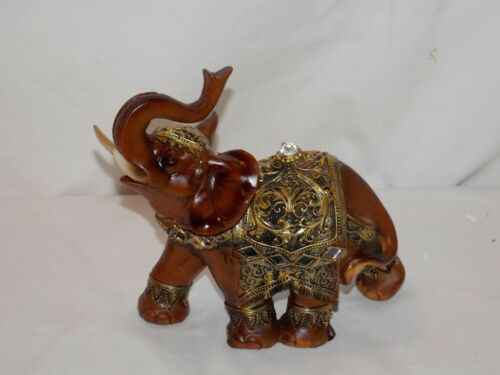 NEW AFRICAN ASIAN BROWN /& GOLD LUCKY ELEPHANT DECORATIVE STATUE FIGURE TRUNK UP